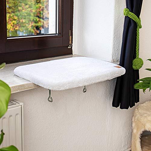 Pfotenolymp® Premium Fensterbrett/Liegebrett für Katzen am Fenster - Fensterliegeplatz/Katzenliege für die Fensterbank - Liegeplatz/Liegemulde für Katzen