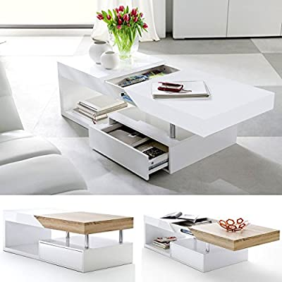 ModaNuvo 'Hope' Modern White Gloss & Oak Extending Storage Coffee Table With Drawer produced by ModaNuvo - quick delivery from UK.