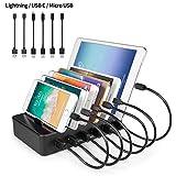 YOJA Ladestation Mehrere Geräte 6 Port USB Multi Ladestation Handy Tablet USB Ladegerät kompatibel mit Apple iPhone iPad Samsung Geräte (2 Micro-USB-Kabel, 2 Lightning-Kabel, 2 USB C-Kabel) Schwarz