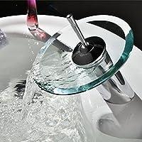 Cascata Bagno lavabo rubinetto rubinetto del lavello del vaso di vanità della vasca da bagno Rubinetti singola maniglia finitura cromata aperta tutto l'anno il becco di
