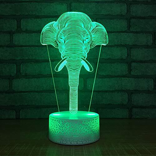 3D Optical Illusions Led Lámparas Elefant 7 Colores Led Que Cambian La...