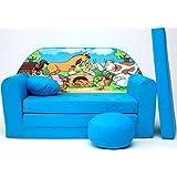 Divan lit pour enfants + pouf/support pieds + coussin - B5