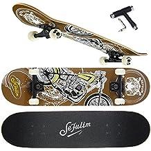 Skateboards Para Deportes Y Juegos Al Aire Libre Sefulim Skate Longboard Cruiser Scooter Freestyle Con Patrón De Moto Marrón Penny Monopatin