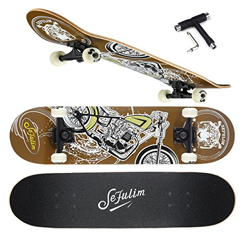 Sefulim 7,75 Komplette Skateboards mit Hoher Qualität mit Kick Ahorn Decks Penny Skaten für Mädchen Jungen Kinder Anfänge 7.75