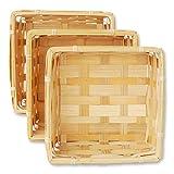 3er Korb Set quadratische Bambuskörbchen