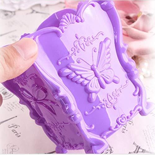 LiKin Trousse à cosmétiques, porte-stylo en forme de tube à brosse en forme de papillon en trois dimensions (Couleur : Purple)