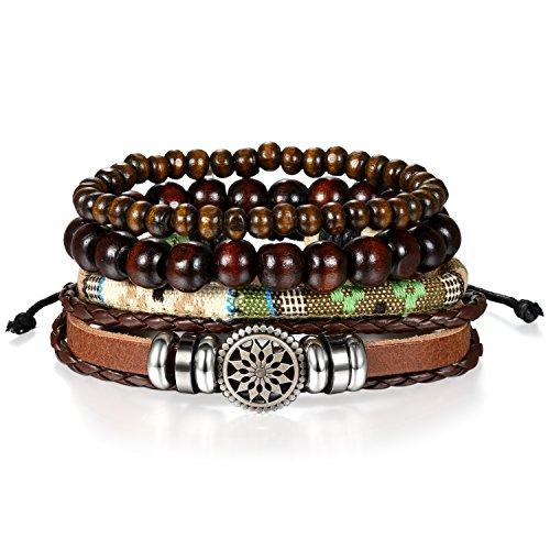 4 Stück Herren Armband Leder Armband Armbänder Schmuck Set braun , OIDEA Vintage Geflochten Lederarmband Kugeln Perlen Stretch Armreifen , verstellbar