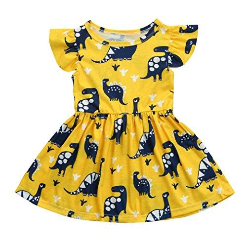 SHOBDW Girls Dresses, Kids Baby Cute Cartoon Dinosaur Print Sun Short Sleeve Dress Clothes Toddler Summer Outfits (2-3 Years, B-Yellow)