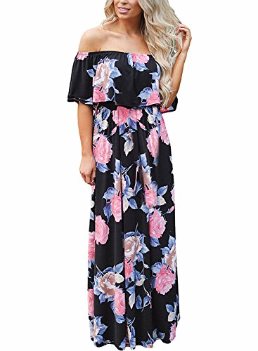 FIYOTE Womens Off Shoulder Floral Ruffle Long Maxi Dresses