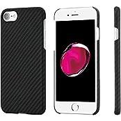 iPhone 7 Hülle PITAKA Schutzhülle aus Aramid (Kugelsicheres Material) Dünne 0.65mm Hochwertige Schutzhülle mit Schutzfolie, Schwarz/Grau
