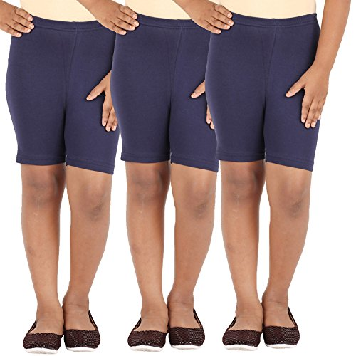 SCHOOL GIRL'S SPANDEX SHORTS PACK OF 3 (11-12 Years, navy)