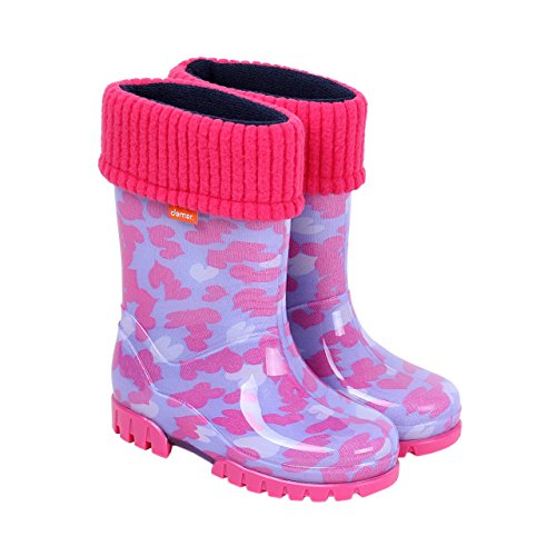 Demar Girls Wellington Boots Rain Snow Wellies PVC Warm Liners Pink Hearts