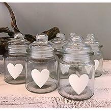 Tarros de cristal para puerta a través de la madera con corazón pintado para decoración de