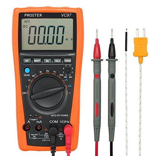 Proster VC97 Digital Multimeter LCD Digital Messgerät Auto Range mit Messung von DCV ACV ACA Widerstand Kapazität Frequenz Temperatur usw