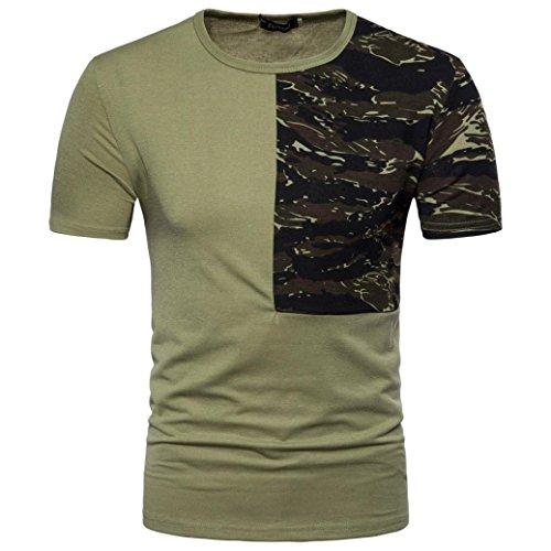 Sport Shirt Herren Kanpola Sommer Basic Sweatshirt Slim Fit Kurzarm Tee Fitness Bluse (Q-Grün, M) (Grüne Pullover Streifen)