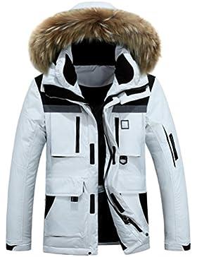 MHGAO Abajo Chaqueta de los hombres acolchado para mantener caliente la capa del invierno , meters white , m