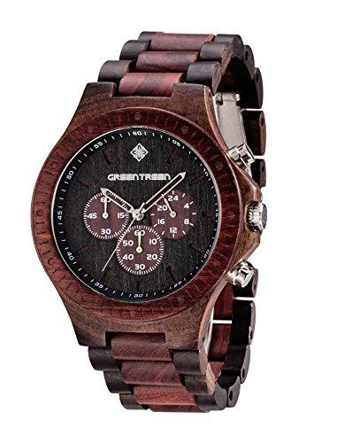 Greentreen Orologi legno orologio uomo disegno multifunzionale con la vigilanza del legno movimento svizzero con 5ATM cronografo impermeabile Orologi di visualizzazione