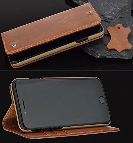 Suncase iPhone 7–Étui fabriqué à la main style livre (slim fit) en étui de protection en cuir véritable Wallet Case Étui cognac