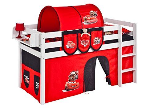 Lilokids Spielbett Jelle Disney Cars, Hochbett mit Vorhang Kinderbett, Holz, weiß, 208 x 98 x 113 cm