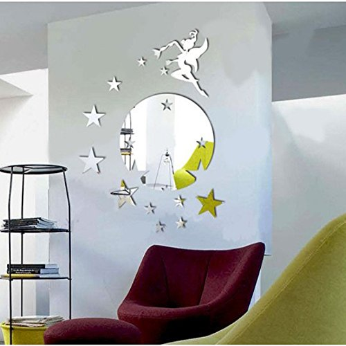 Silver Round Disk Fairy Stars Modern Stylish Fashion Art Design Removable DIY Acrylic 3D Mirror Wall Decal Wall Sticker for Decorate Interior Walls Or Windows Of Home, Bathroom, Office, Dorm, Or Store -