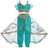 Mooler Jasmine Disfraz Traje de Princesa Jazmín Cosplay Cuento de Hadas para Niñas Disfraces-110
