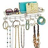 mDesign - Organizador para accesorios, de pared; guarda alhajas, collares, aros, pulseras, relojes pulsera - Plateado