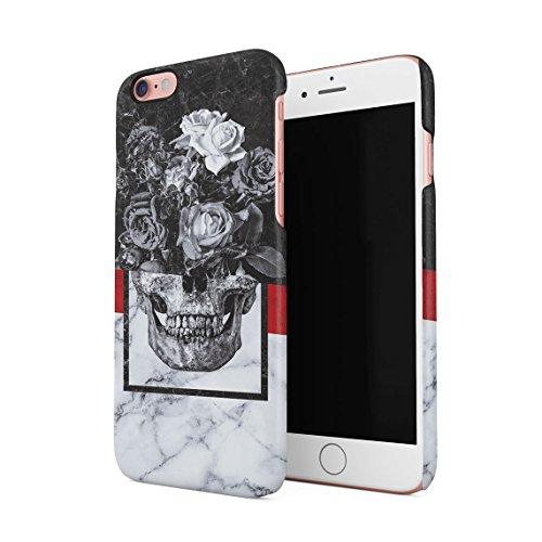 kull Schwarz & Weiß Marmor Stone Dünne Rückschale aus Hartplastik für iPhone 6 & iPhone 6s Handy Hülle Schutzhülle Slim Fit Case Cover ()