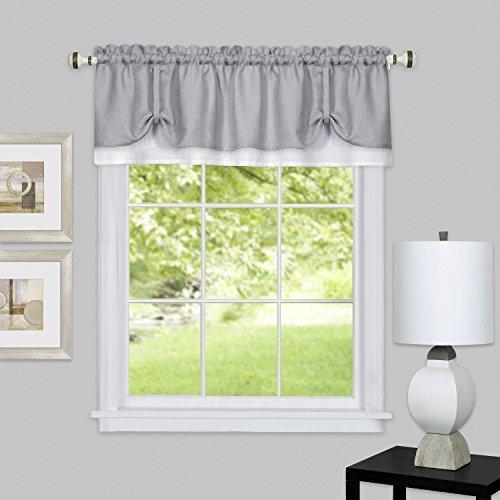 Achim Home Furnishings Darcy Window Curtain VALANCE, 58 X 14, Grey/White by Achim Home (Darcy Curtain)