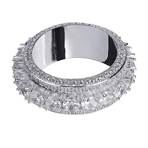 Männer Hip Hop Iced Out Bling 5 Row Kubikzircon Ringe Drehbare Runde Ringe Modeschmuck Geschenke,Silver,7 (10-karat-gold Pinky Ring)