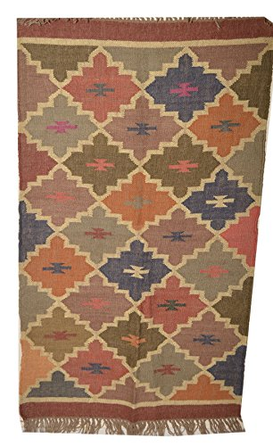 Indian 3x 5'Deko Vintage-handgewebt Jute Pray Wickelauflage groß Bereich Wolle Teppich Überwurf (Jute 5')
