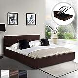 MIADOMODO Kunstlederbett (120 x 200 cm) | mit integriertem Lattenrost und Bettkasten | Polsterbett, Doppelbett, Bettgestell, Bettrahmen | Braun