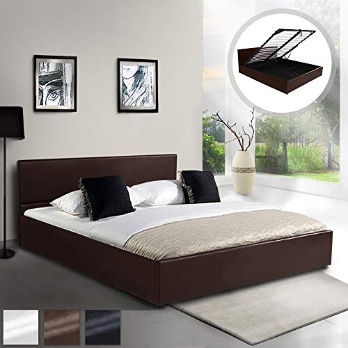 MIADOMODO Kunstlederbett (140 x 200 cm) | mit integriertem Lattenrost und Bettkasten | Polsterbett, Doppelbett, Bettgestell, Bettrahmen | in Braun