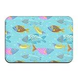 liangxiquguidaojiaotongshe Non-Slip Doormat Colorful Fish Durable Mat rug Bathroom Bedroom Floor Carpet