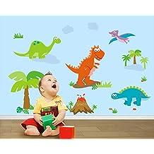 ufengke® Árboles de Dinosaurio de Dibujos Animados Parque Jurásico Pegatinas de Pared, Vivero Habitación de Los Niños Removible Etiquetas de La Pared / Murales