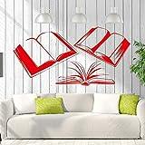 Adesivo murale Libri Sala Lettura Biblioteca Libreria Decor Rimovibile Adesivi murali vivaio Decorazioni per la casa Rosso 57x112 cm