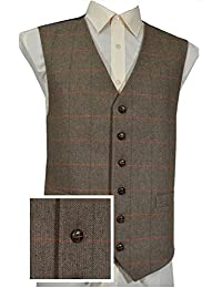 Lloyd Attree & Smith Classic Wool Handle Traditional Herringbone Check Style Tweed Waistcoat - Brown Check