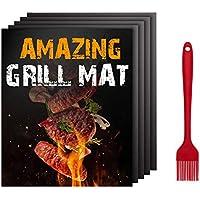 BBQ Grill Mat BBQ Mat-5 PCS Alfombrilla antiadherente de barbacoa de teflón para cocinar y hornear, reutilizable y fácil de limpiar, funciona con carbón vegetal a gas