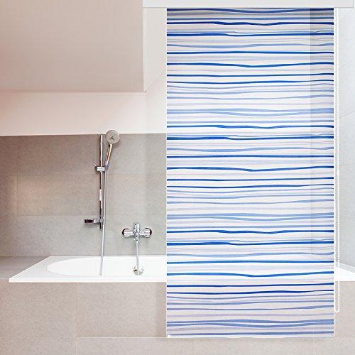 Store de douche casa pura® Lines imperméable | 4 tailles | antibactérien, sans plastifiants, écologique | fixation au plafond | 80x240cm