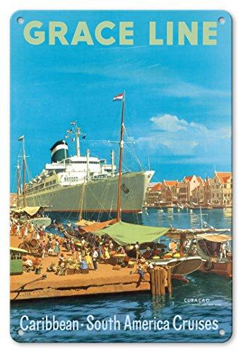 22cm x 30cm Vintage Metallschild - Karibik - Südamerika Kreuzfahrten - Willemstad Harbour, Curaçao, Westindische Inseln - Grace Linie - Vintage Retro Dampfschiff Kreuzfahrtschiff Reise Plakat von Carl G Evers c.1957