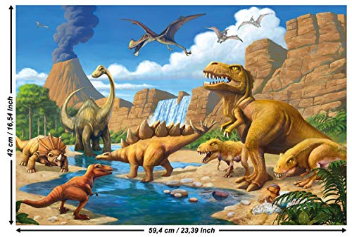 GREAT ART Poster - Dinosaurier Abenteuer - (59,4 x 42 cm) Wandbild Dekoration Prähistorische Echsen Dschungel Illustration Comic Style Wandposter Deko Fotoposter Wanddeko Bild - DIN A2