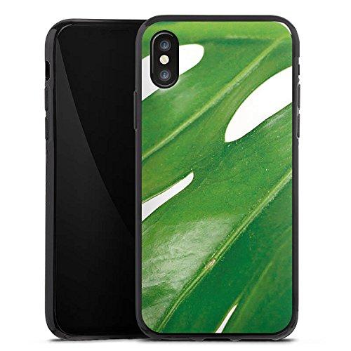 Apple iPhone X Silikon Hülle Case Schutzhülle Palmenblatt Blatt Philodendron Silikon Case schwarz
