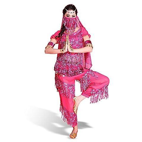 Femme Belly Danse du Ventre ensemble de 7 pièces Danseuse Déguisement Costume Orientale Danse Top + Pantalon + Ceinture + Voile + Bracelet