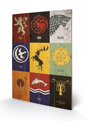1art1 Set: Game of Thrones, Wappen der Großen Häuser, In Englisch Poster Auf Holz (60x40 cm) + 1x Aktions-Home-Deko Artikel
