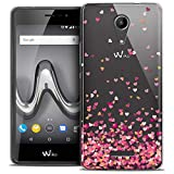 Caseink - Coque Housse Etui pour Wiko Tommy 2 (5) [Crystal Gel HD Collection Sweetie Design Heart Flakes - Souple - Ultra Fin - Imprimé en France]