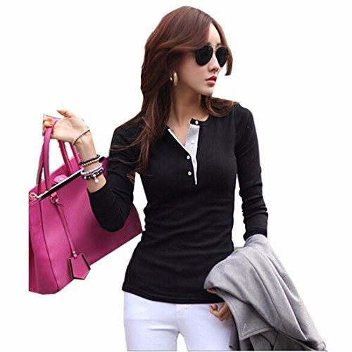 Femmes Filles Dentelle Col En V Slim T-Shirt Manches Longues Casual Chemises Hauts Blouse Noir