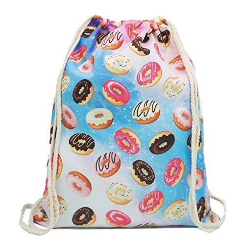 Artone Krapfen Gradient Zeichnung Polyester Kordelzug Tasche Reise Tagesrucksack Sportarten Tragbar Rucksacks Candy Farbe (Candy Tasche)