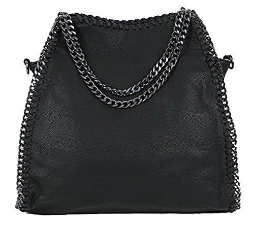 Stella Metallic Tote (Limited Colors Handtasche VIVIEN Lederlook Damen Schwarz Grau Rosa Jeans Shopper Beuteltasche mit Kette (Schwarz Lederstruktur))