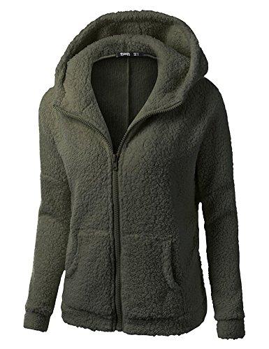 Minetom Frauen Damen Montana Mikro Fleece Jacke Kapuze Pullover Kuschelig Warm Zipper Hoodie Outwear Oberteile Grün DE 48 - Grüner Pullover Warme Jacke