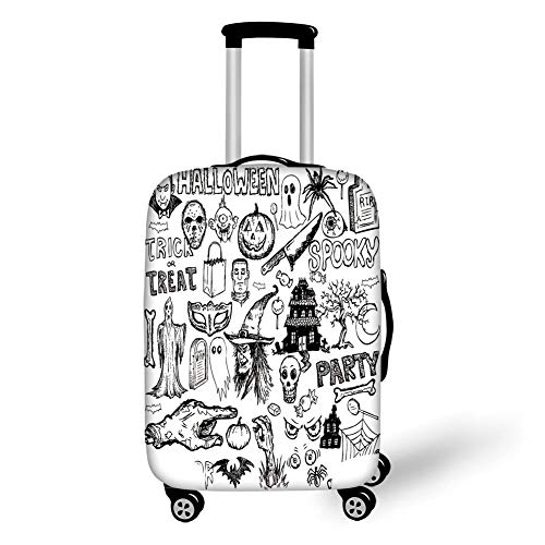 Travel Luggage Cover Suitcase Protector,Vintage Halloween,Hand Drawn Halloween Doodle Trick or Treat Knife Party Severed Hand Decorative,Black White,for Travel,S (Knife Party Hat)