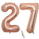 """2 Numero di Palloncini 27,Numero 27 Compleanno Decorazione Oro Rosa Ragazza,40"""" Palloncino a Foglio di Elio Gonfiabile,Happy Birthday Party Palloncino Gigante Prom Festa Party(XXXL 100cm)"""